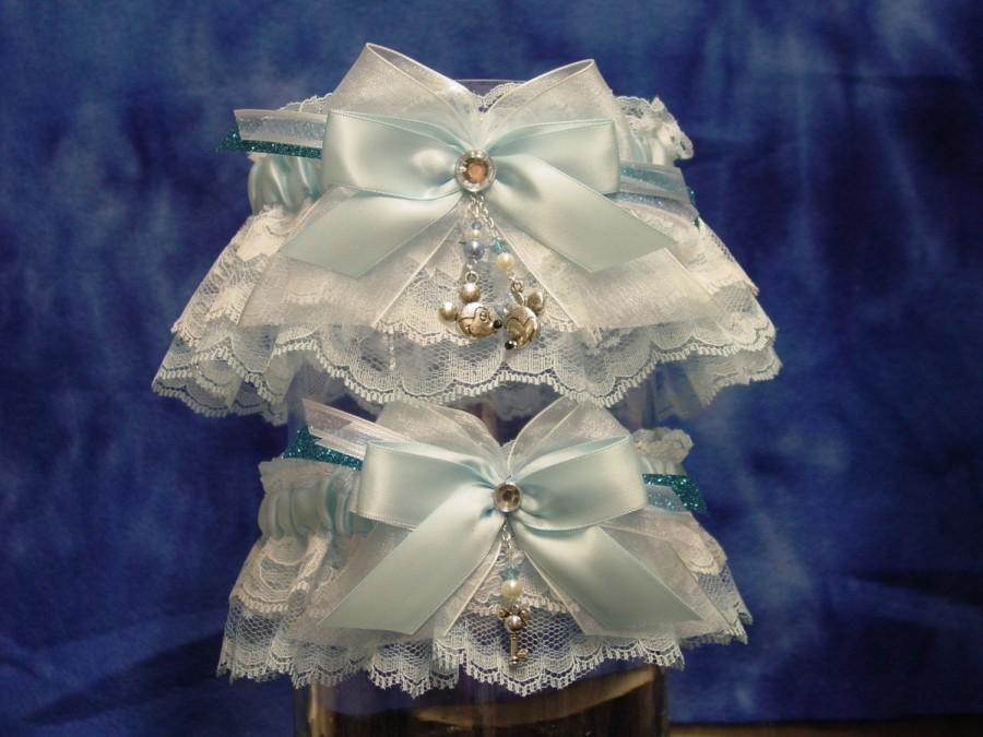 Hochzeit - Blue Disney Mickey & Minnie Mouse Wedding Garter Set