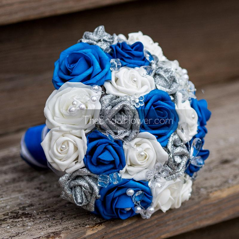 Royal Blue And Silver Wedding Bouquet With Crystals Glitter Silver