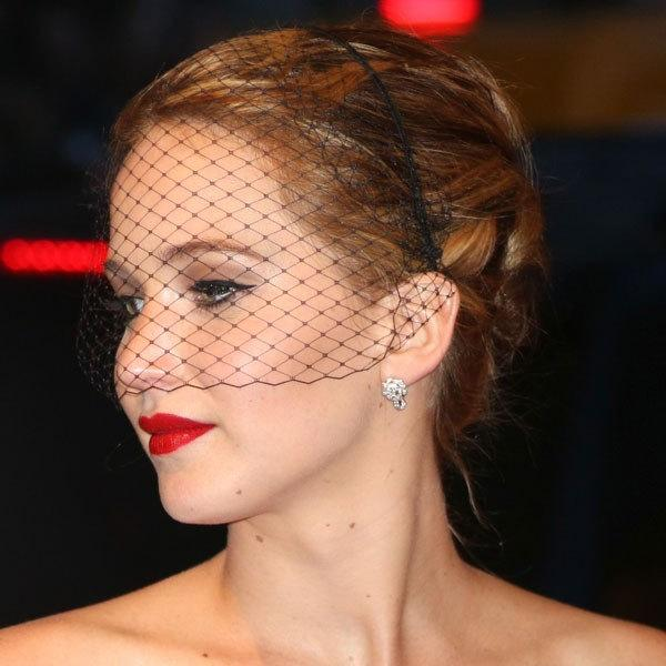 Свадьба - Black Fascinator Veil on narrow headband like Jennifer Lawrence birdcage Veil Headband  masquerade mask