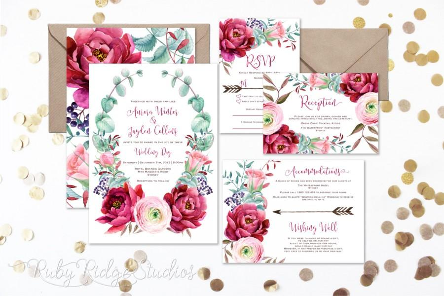 burgundy blush watercolor floral wedding invitation peony roses