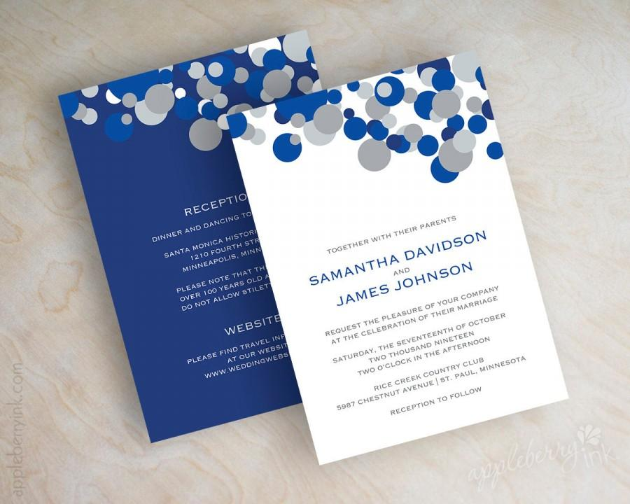 Blue And Silver Polka Dot Wedding Invitations, Sapphire Blue ...