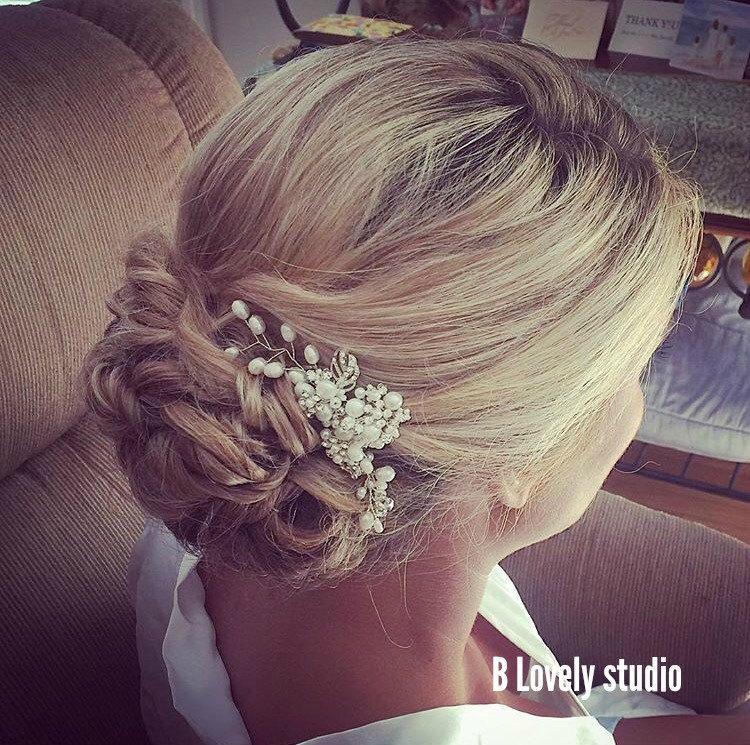 Mariage - Sophia Hair Comb, Pearl Bridal Hair Comb, Bridal hairpiece, Wedding hair accessories, Bridal Headpieces, Silver Bridal Hair Jewelry