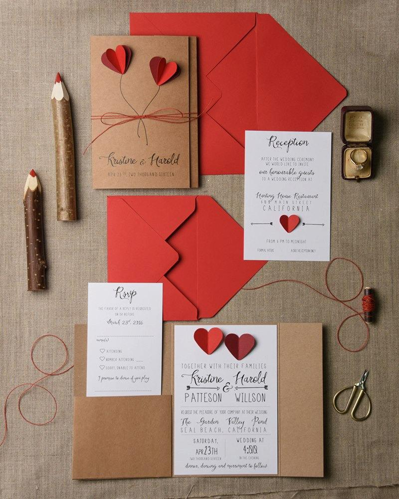 Rustic Wedding Invitation Set (20), Hearts Wedding Invitation Suite ...