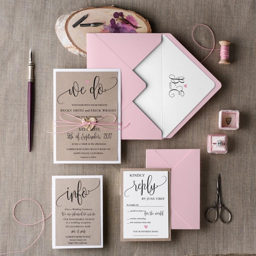 Rustic Wedding Invitation Set (20), Wedding Invitation Suite, Pink ...