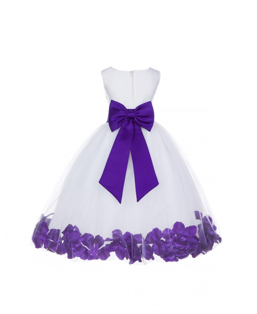 New Color White Flower Girl Petals Tulle Dress Pageant Wedding ...