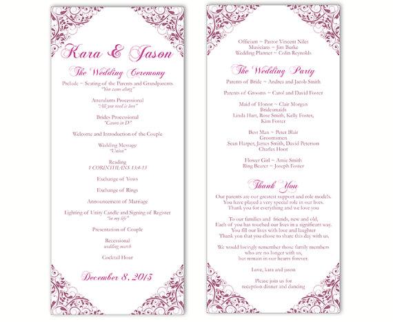 Wedding - Wedding Program Template DIY Editable Word File Instant Download Program Eggplant Program Floral Program Purple Printable Program 4 x 9.25