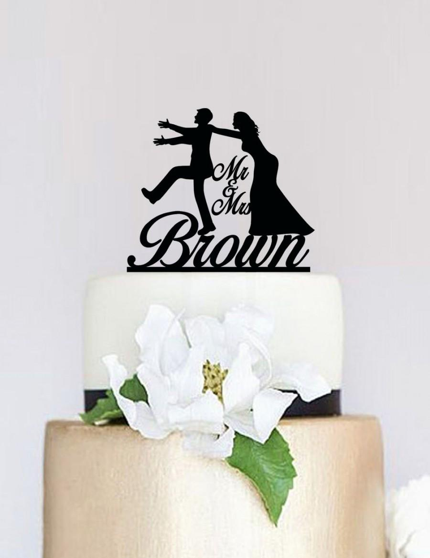 Funny Wedding Cake Topper,Bride And Groom Silhouette,Custom Cake ...