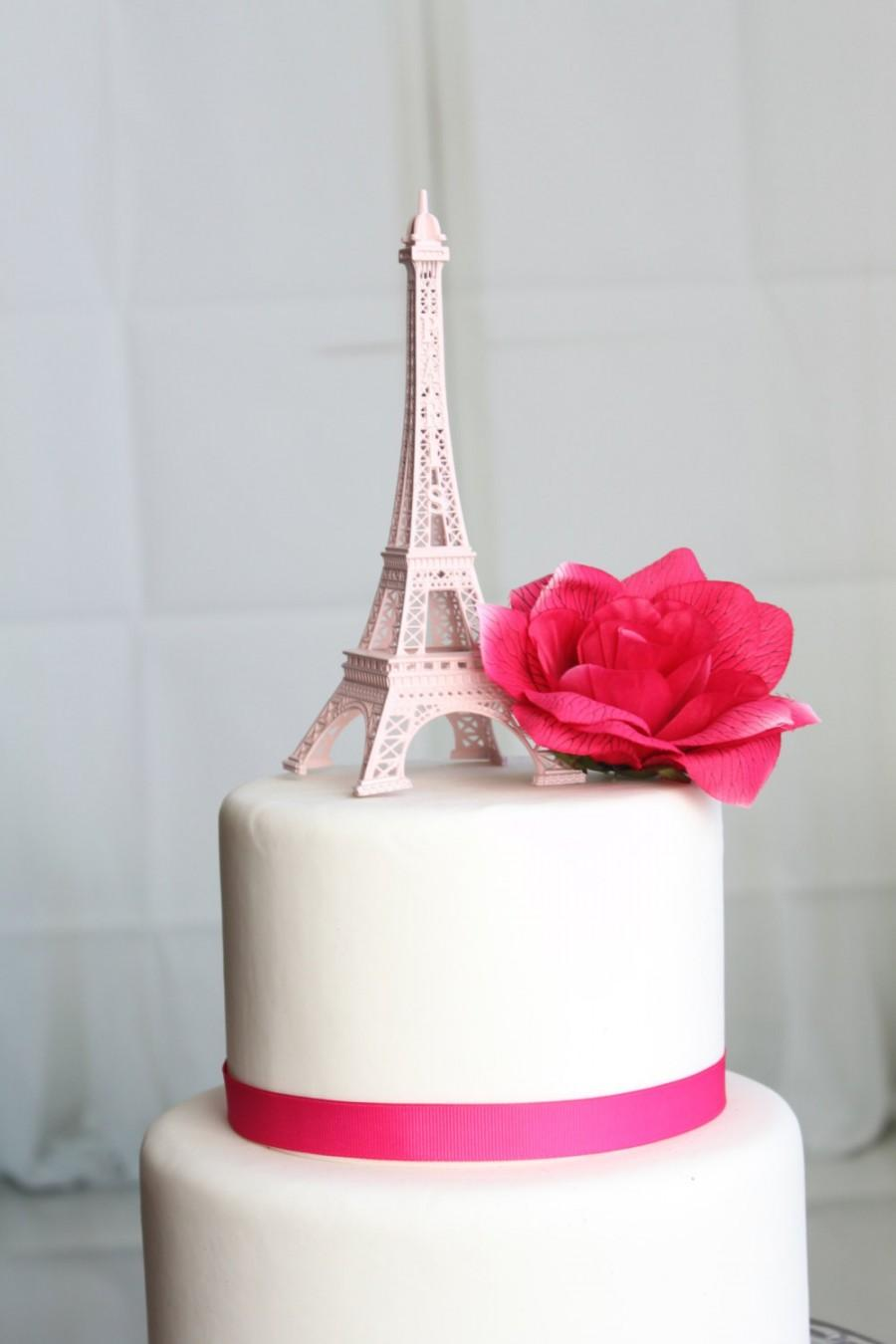 Wedding - Baby Pink Paris Eiffel Tower Cake Topper