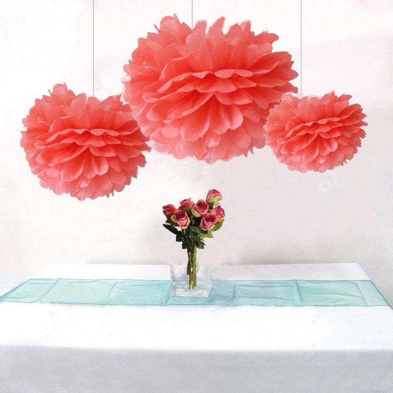 Bulk 12pcs coral party wedding decoration diy tissue paper flower bulk 12pcs coral party wedding decoration diy tissue paper flower pom poms wedding birtday bridal shower hanging party decoration mightylinksfo