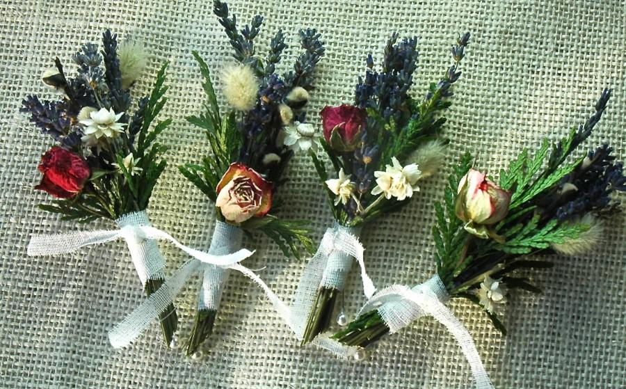 Mariage - Five Dried Lavender, Cedar  and Rose Corsages or Boutonnieres
