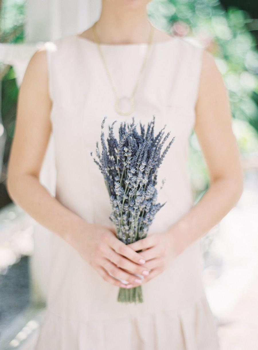 Hochzeit - Simple Bridesmaids Wedding Bouquet of Dried French and English Lavender