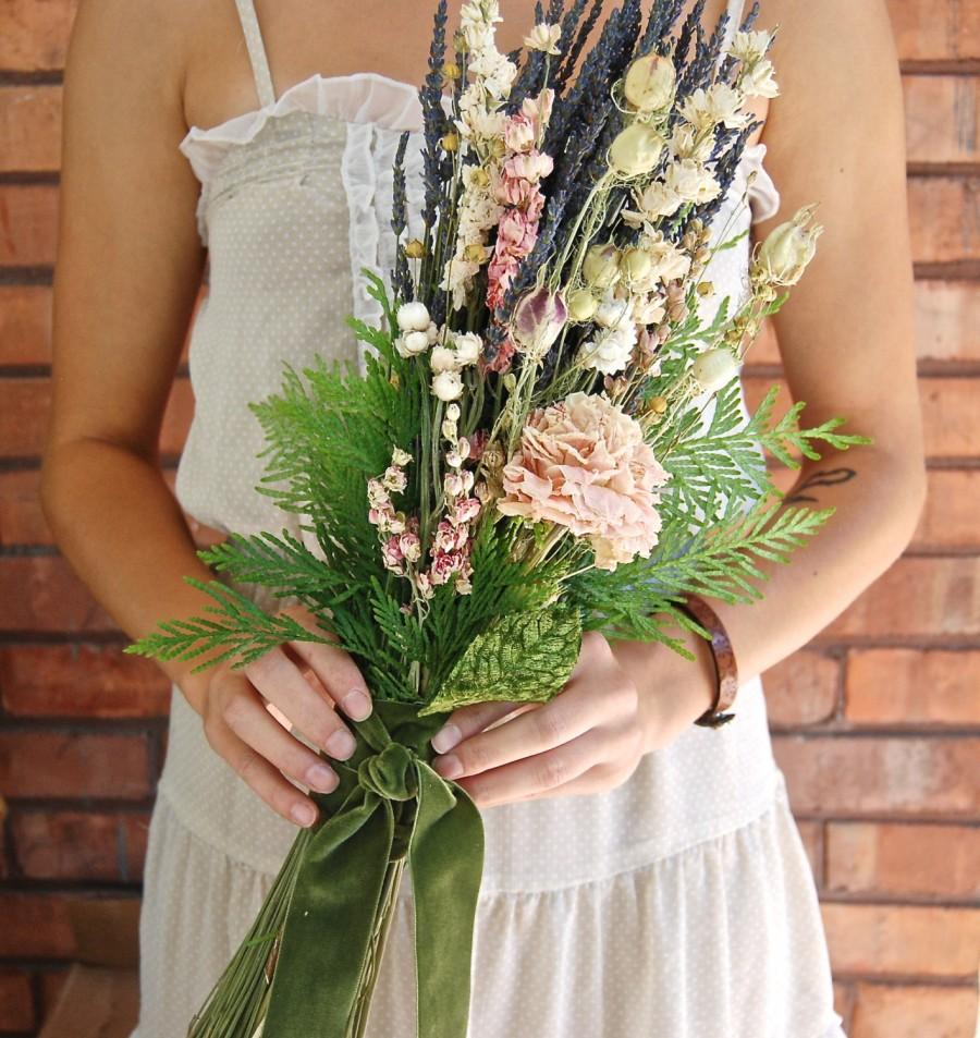 Mariage - Natural Bride's Wedding  Bouquet of Blush Peony Lavender Cedar Forest Lavender Farm