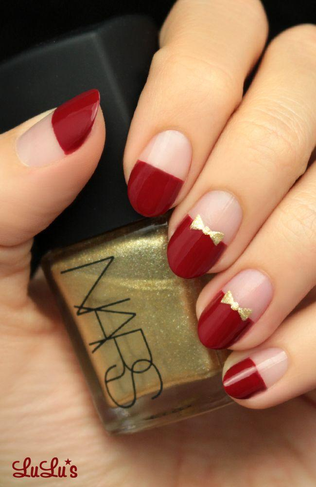 Свадьба - Mani Monday: Red And Gold Bow Nail Tutorial