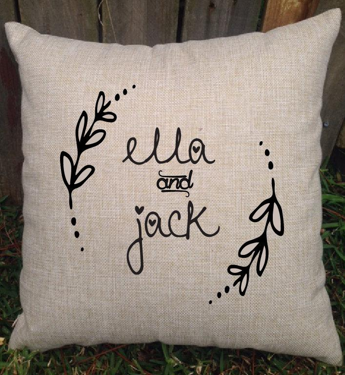 personalised rustic design pillow with couple names perfect wedding gift engagement gift or bridal shower gift you choose the colours