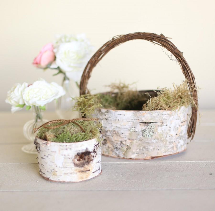 Mariage - Rustic Flower Girl Basket and Ring Bearer Pillow SET Birch Moss Twigs Woodland Natural Wedding NEW 2014 Design by Morgann Hill Designs