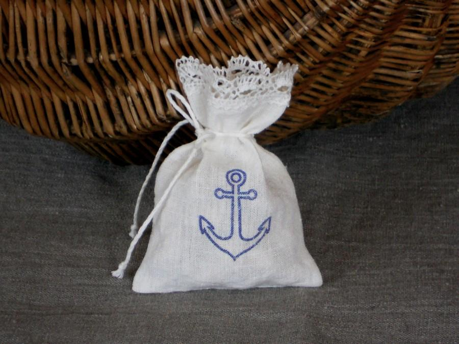 Nautical Favor Bags With Lace White Blue Anchor Gift Bag Set Of 20 Bridal Sachets For Beach Wedding