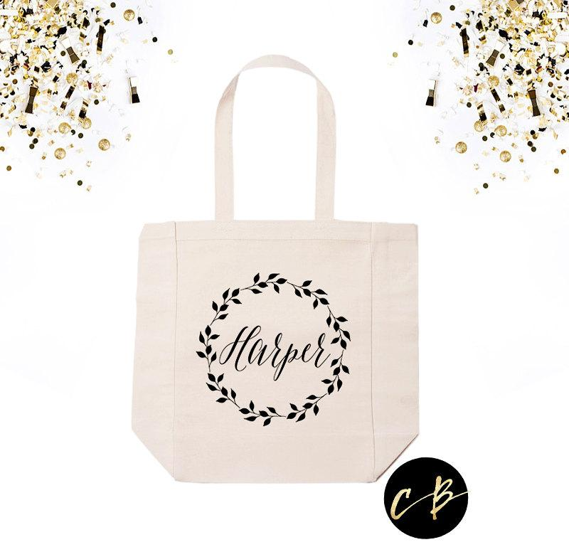 زفاف - Personalized Tote Bag // Personalized Wedding Wreath Tote Bag // Wedding Totes // Bridal Party Gifts //Personalized Bridesmaid Tote // HAW01