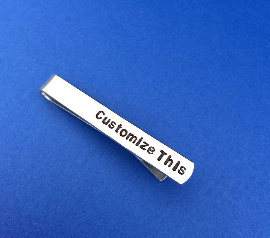 Свадьба - Personalized Tie Clip Hand Stamped Tie Bar Clip Aluminum Custom Gift Quote Phrase Initials - Father's Day - Birthday - Wedding - Groomsmen