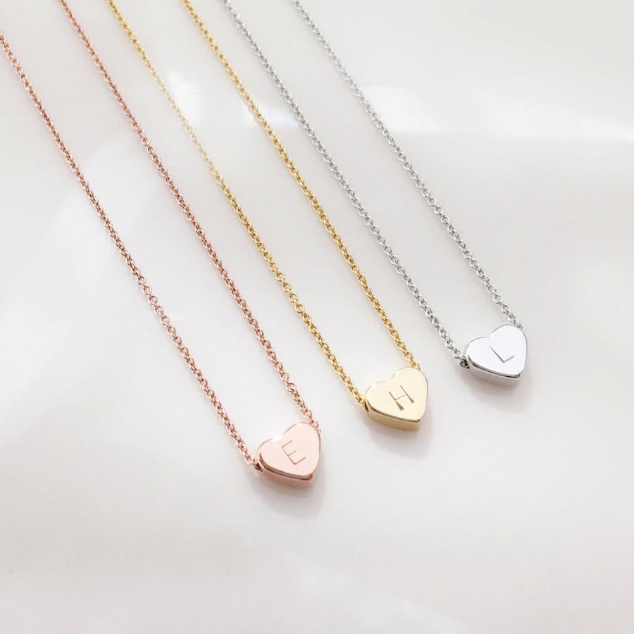Свадьба - Heart Necklace, Graduation Gift, Personalized Wedding, Flower girl gift Kids Junior Bridesmaid gift sister