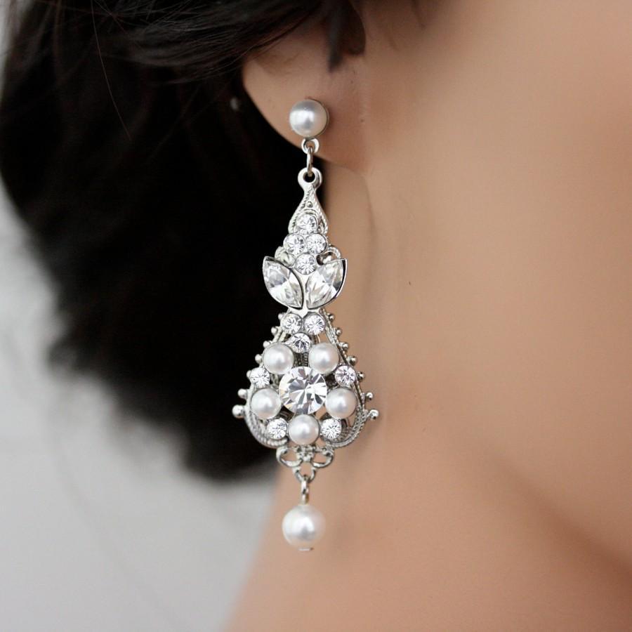 Свадьба - White Pearl Wedding Earrings Vintage Bridal earrings Swarovski Crystal Wedding Jewelry PARIS