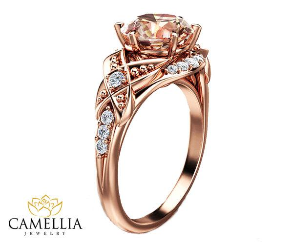 Mariage - 14k Rose Gold Vintage Morganite Engagement -Art Deco Engagement Ring-2ct. Round Pink Peach Morganite Ring