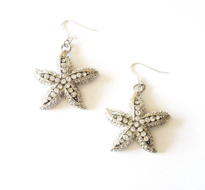 Свадьба - Beach Bride Earrings Silver Rhinestone Starfish Jewelry Nautical Bridal Accessories Bridesmaid Destination Weddings Womens Gift For Her