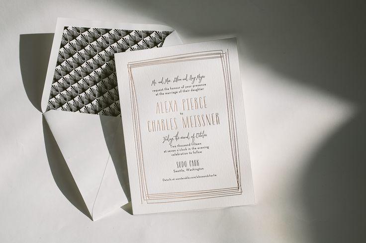 Black And Rose Gold Wedding Invitations Bella Figura 2471235