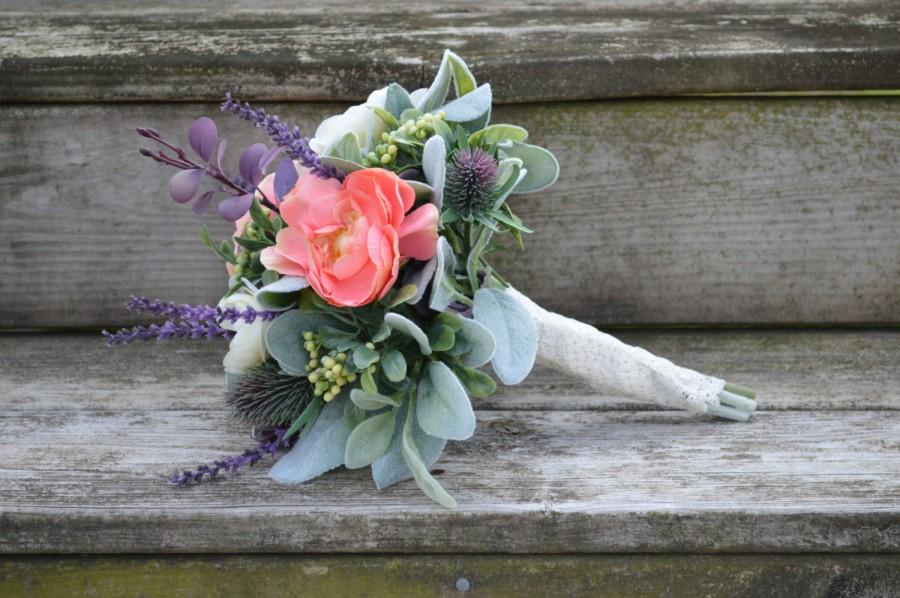 Wedding - Silk Bridesmaid Flower Bouquet Rustic Country Lace Wedding Thistle Lambs Ear Coral and Ivory Ranunculus Lavender Boxwood Eucalyptus Purple