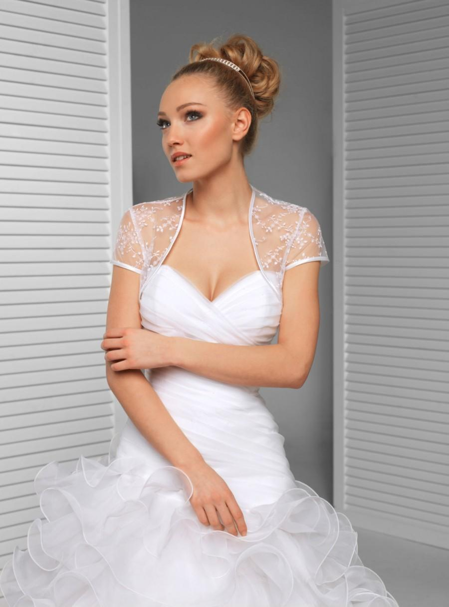 Ivory Or White Short Sleeve Delicate Lace Wedding Jacket Bridal