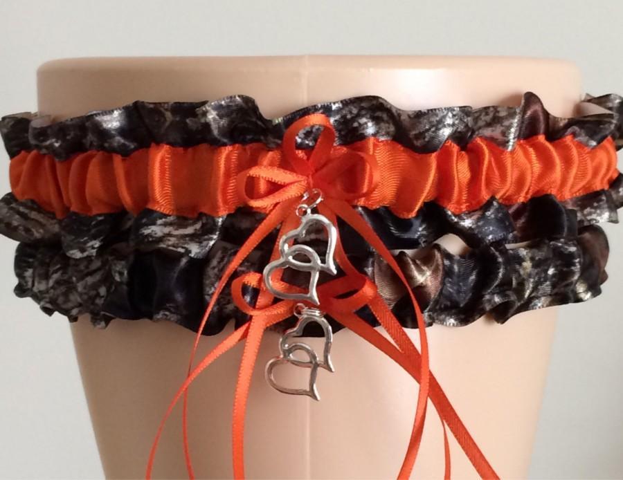 Mossy Oak Orange Camouflage Wedding Garter Set Bridal Camo Keepsake