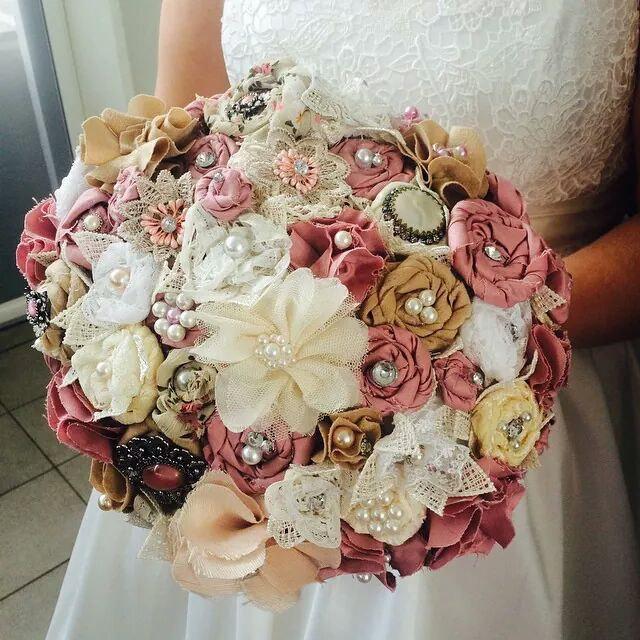 Свадьба - Handmade fabric flower bridal bouquet