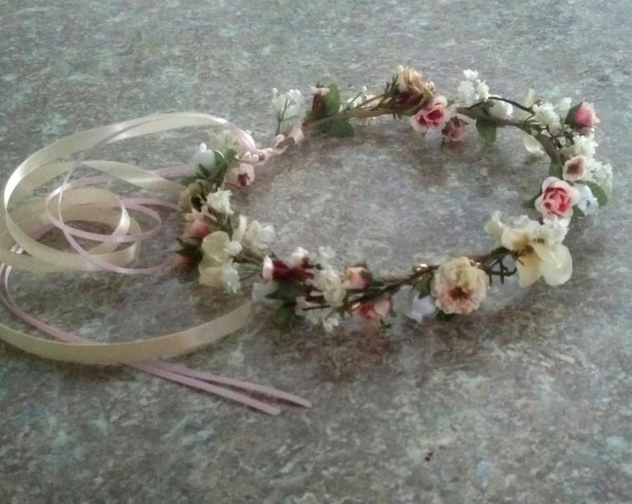 Hochzeit - Champagne Blush Flower crown Bridal hair wreath garland gold halo blush peach pink accessories Woodland pip berry destination Wedding