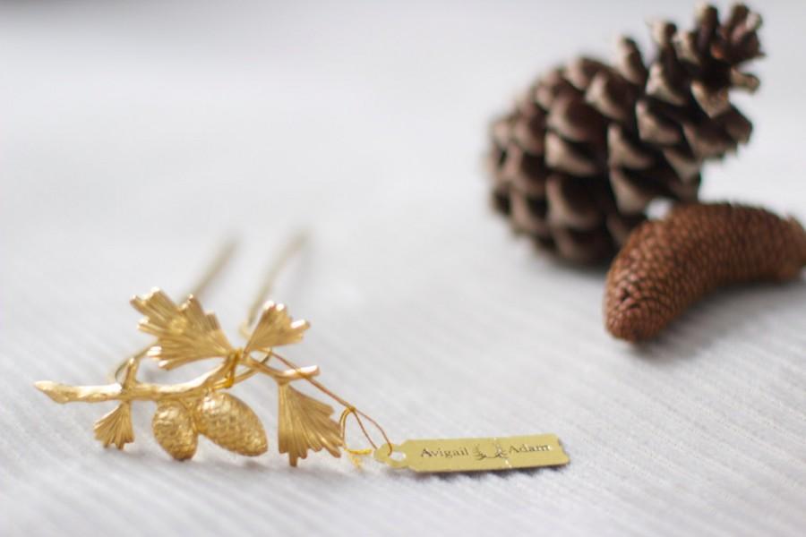 Wedding - Gold Pinecone Hair Stick, Golden Forest Hair Accessories, Pinecone Hair Clip, Pinecone Gold Hair Pin