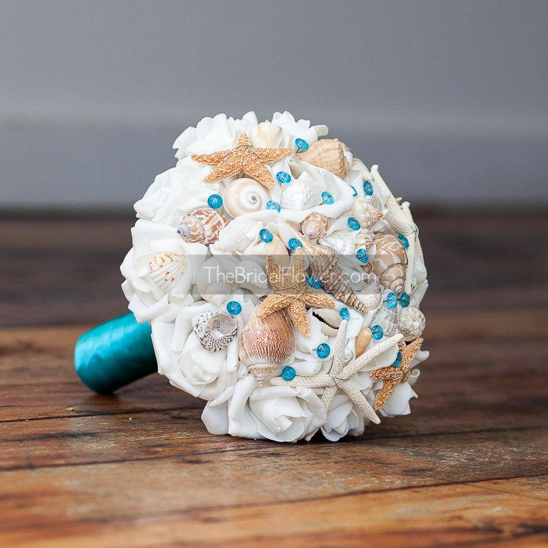 Mariage - Malibu blue or turquoise seashell wedding bouquet with shells and starfish and malibu or turquoise crystal pins