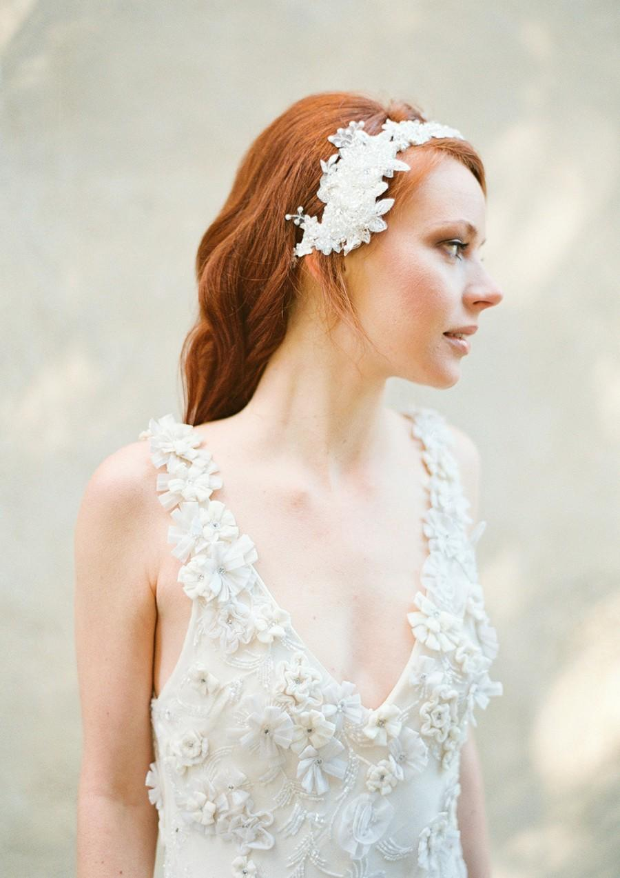 Wedding - Ivory Beaded Lace and Pearl Bridal Headband, Wedding Hair Accessory - Style 318