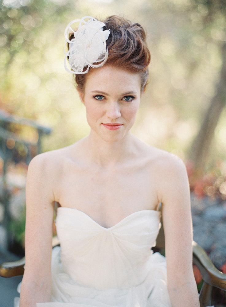 Mariage - Wedding, Bridal Headpiece, Fascinator, Lace flower, Lace - Style 212