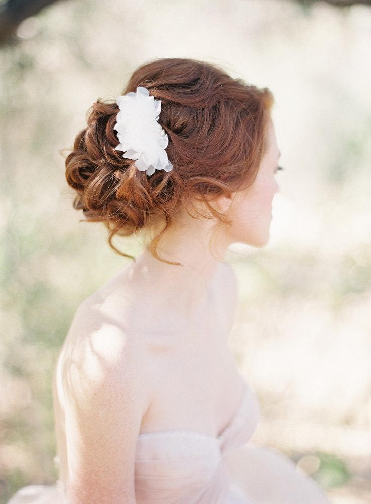 Wedding - Floral Bridal Hair pins set beaded with Lace and Pearls - Style 203