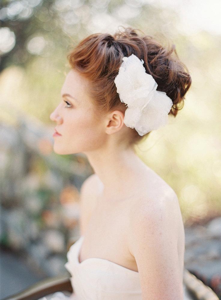 Wedding - Wedding, Bridal Hair piece, Fascinator, Headpiece, Floral, Lace - Style 207