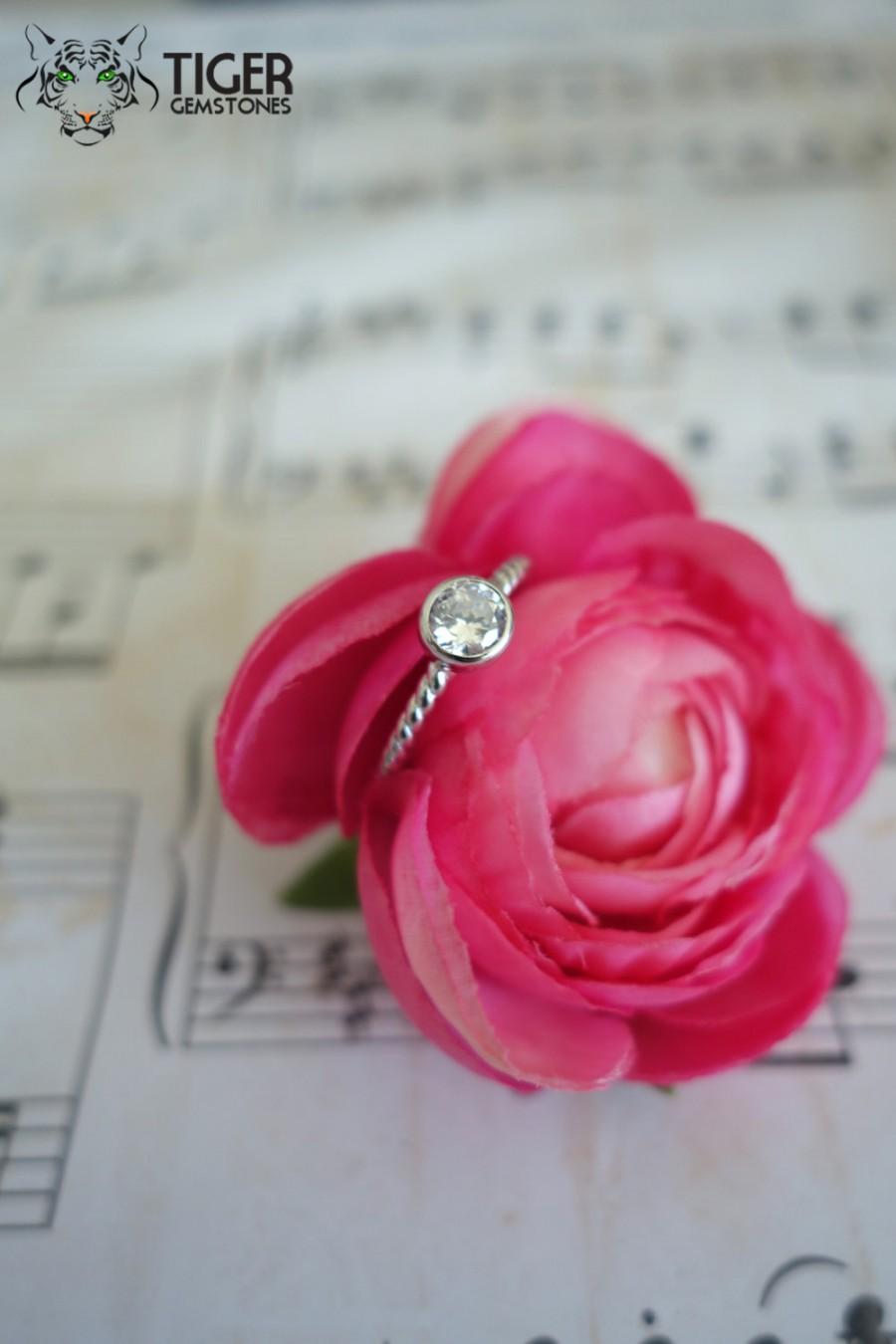 Bezel Set, .4 Carat, 4.5mm, Rope Style Engagement Ring, Man Made ...