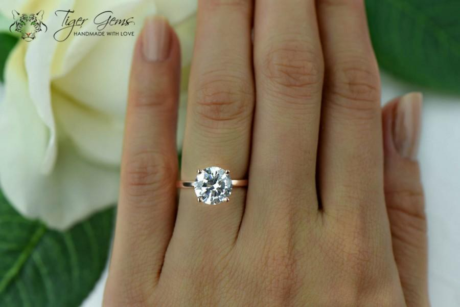 Gentil 3 Carat 4 Prong Engagement Ring, Rose Solitaire Ring, Man Made Diamond  Simulant, Wedding Ring, Bridal Ring, Promise Ring, Sterling Silver