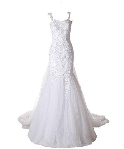 Mariage - Elegant Detachable Train Beaded Lace Mermaid Wedding Dress