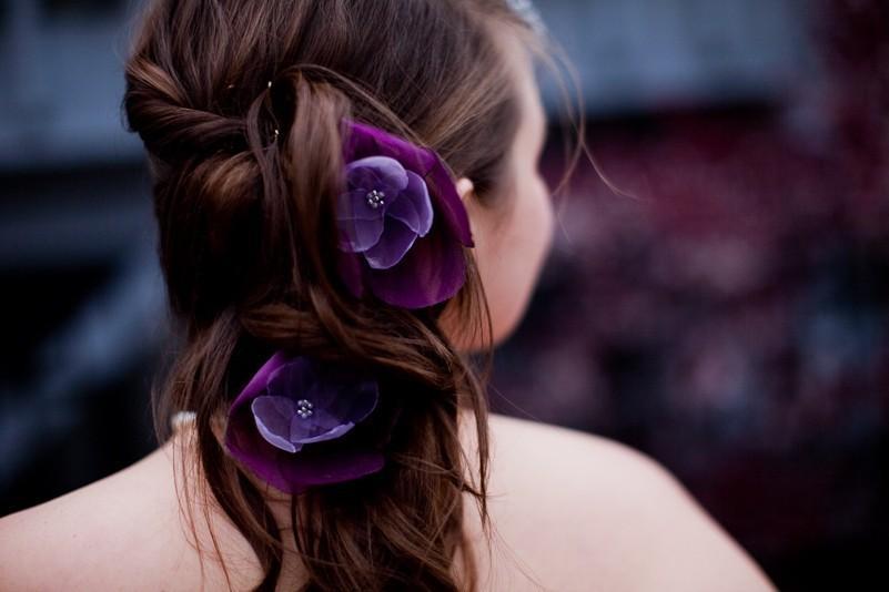 زفاف - ON SALE romantic amethsyt lilac purple rose blossom flower hair pins (2 pieces)