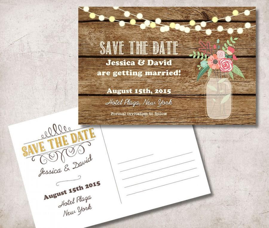 Save The Date Postcard Printable, Rustic Save The Date Card, Mason ...