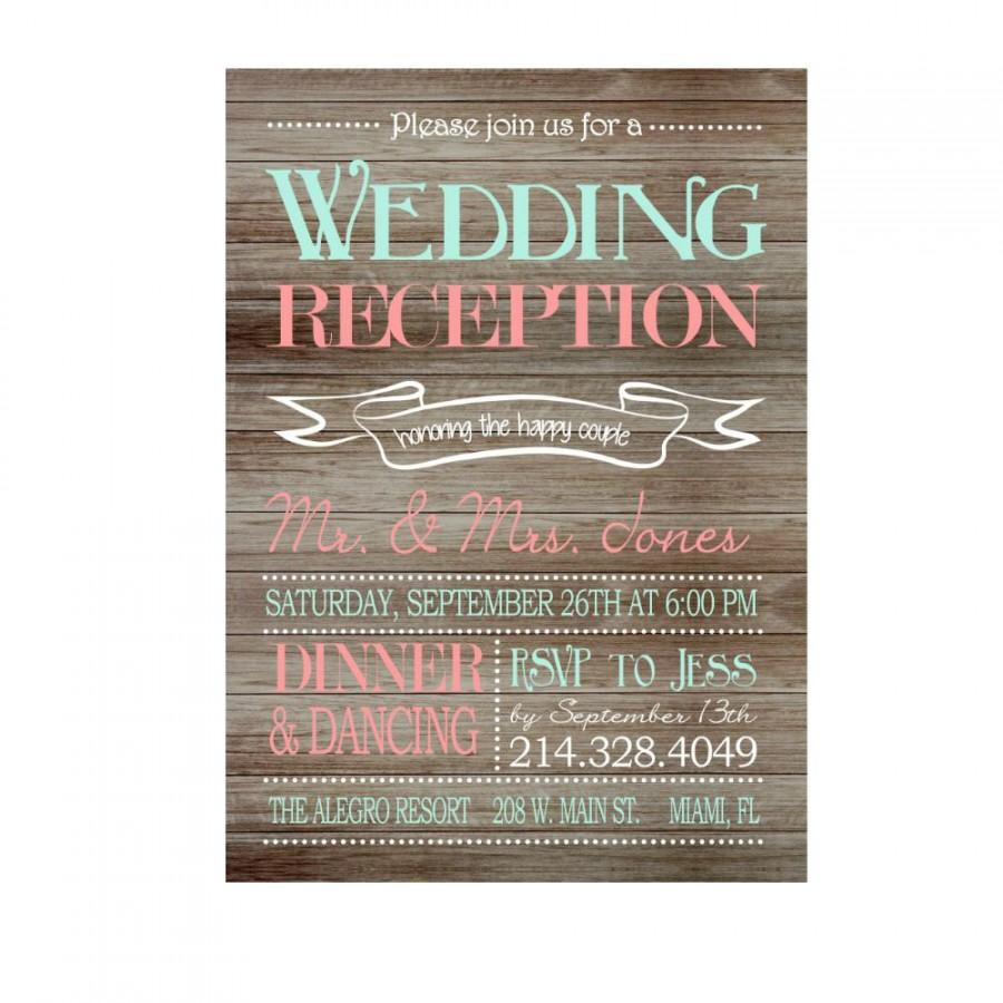 Rustic wedding reception only invitation on wooden background rustic wedding reception only invitation on wooden background reception only invitation reception printable invitation print your own filmwisefo