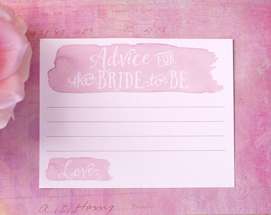 زفاف - Advice for the Bride to Be - Bridal Shower Advice Cards - Watercolor with Hand Drawn Text - Pink, Blue, Green - Bridal Shower Game