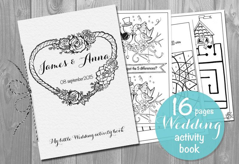 kids wedding activity book printable personalized booklet pdf pages template childrens activity sheets