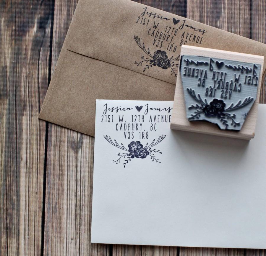 Wedding Invitation Rubber Stamps: Rustic Wedding Stamp, Deer Antler Return Address Stamp