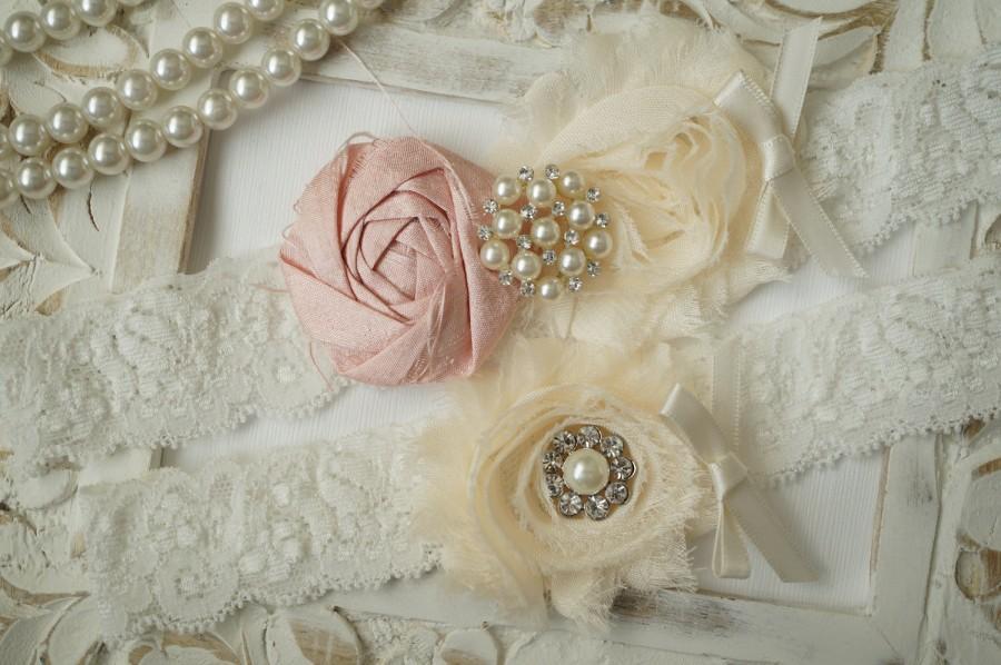 Wedding Garter Set Bridal Vintage Ivory Lace Crystal Something Blue