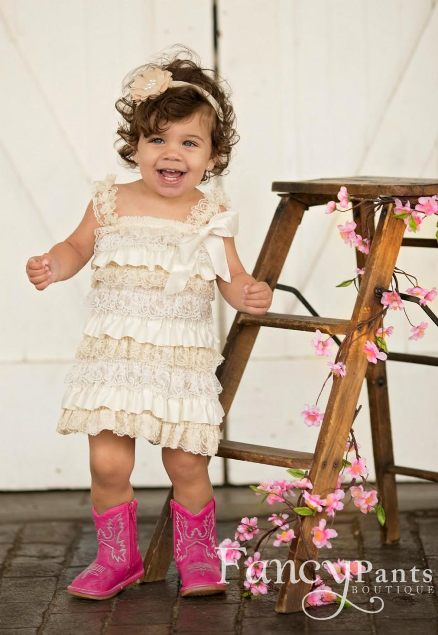 Mariage - Rustic Flower Girl Dress, Lace Flower Girl Dress, Baby Girl Dress, Shabby Chic Dress, Toddler Dress, lace and tulle flower girl dress