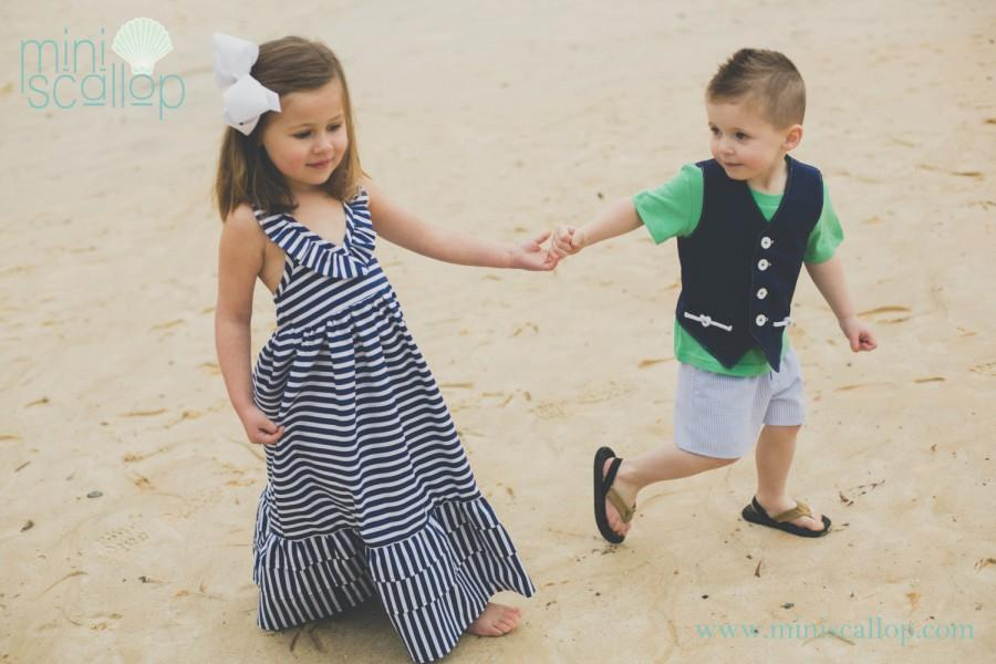 42b5ef5c5b58 Girls Nautical Stripe Sailor Anchor Maxi Dress